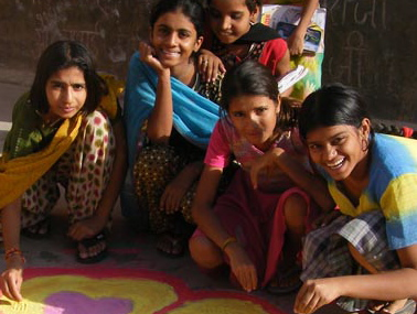 Veerni Girls enjoy making rangoli during their free time.